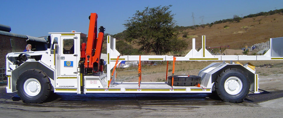 Underground Flatbed Utility Vehicle - with Crane